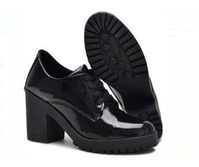 Sapato Oxford Cano Curto Salto Grosso Tratorado Varias Cores