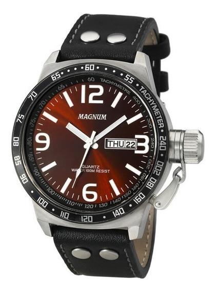 Relógio Magnum Masculino Ma31542v Vinho Couro Analogico