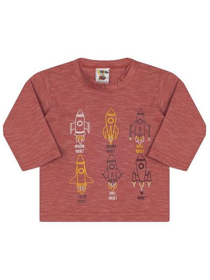 Camiseta Infantil Menino Molekada Manga Longa Foguete