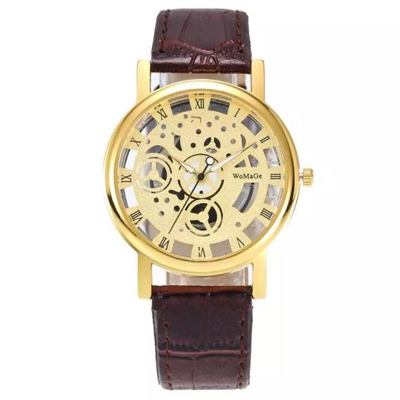 Relógio Womage 1017 Dourado Pulseira De Couro