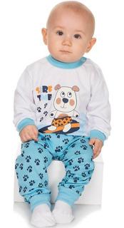 Pijama Bebê Menino Meia Malha Longo Inverno Botões No Ombro