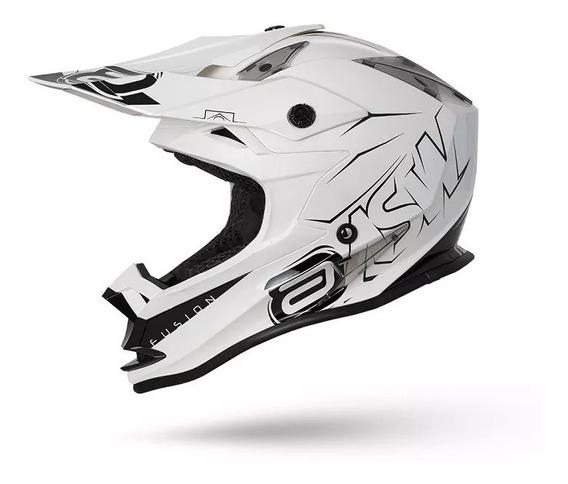 Capacete Asw Fusion Sharp Branco 62 Motocross Enduro
