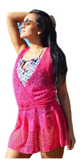 Vestidinho Saída De Praia Curtinho Pink - Tamanho Único