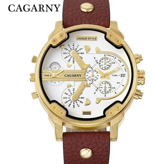 Relógio Masculino Cagarny Original Dourado - Pulseira Couro
