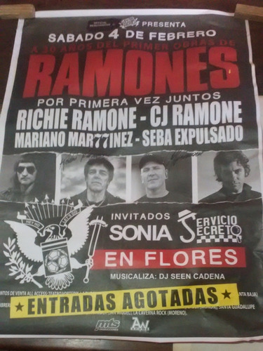 Poster Ramones Autografiado