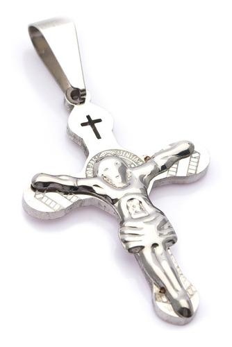 Pingente Crucifixo P/ Corrente Aço Inox J-322 Prateado
