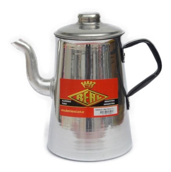 Cafetera De Aluminio Asa Charol - 2 Litros - Aluminio Real