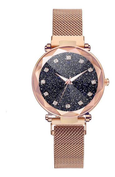 Relógio Feminino Ouro Rosé Strass Pulseira Imã Ajustável