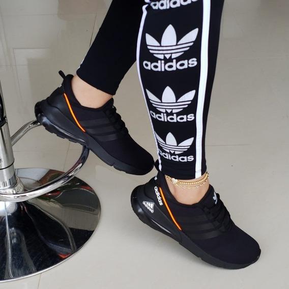 Zapatos Rojos Cordones Negros Tenis Adidas para Mujer en