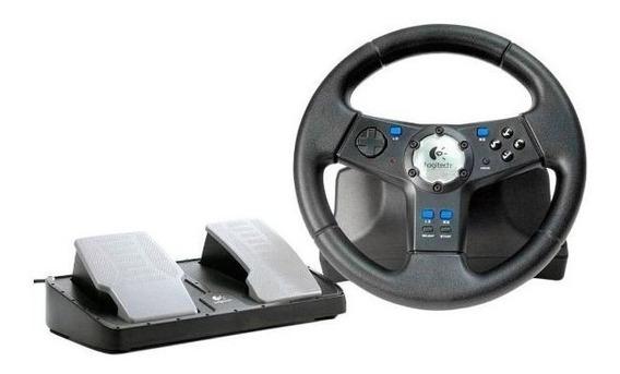 Volante Joystick Logitech Pc Ps2 Pedais Usb Corrida Controle