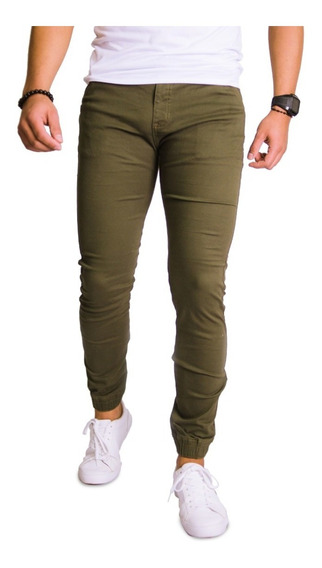 Pantalón Jogger Skinny Casual De Gabardina Strech Hombre