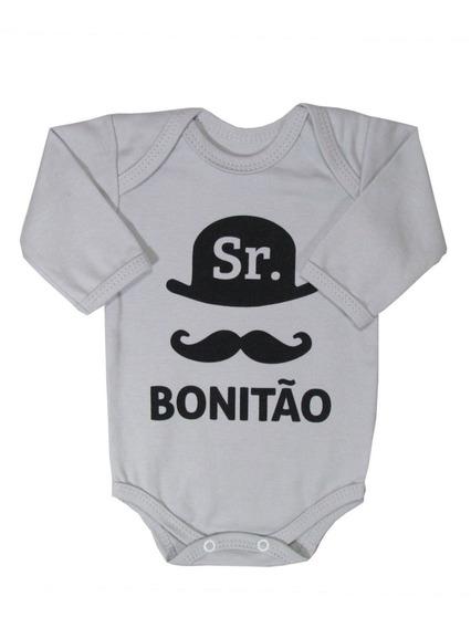 Body Divertido Bebê Manga Longa Sr. Bonitão Piu Blu