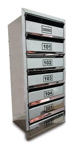 Caixa Correio Inox P/ Condominio -p/6aptos+cond - 70x30x23cm