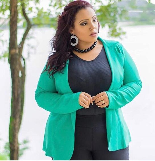 Kit 2 Casacos Blazer Moda Plus Size 46 48 50 Neoprene 2019