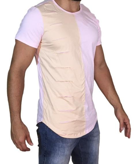 Kit 3 Camisas Oversized Longline Rasgada Destroyed Escaping