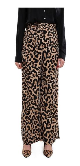 Pantalón Ancho Mujer Estampado Animal Print Color Marrón Lob