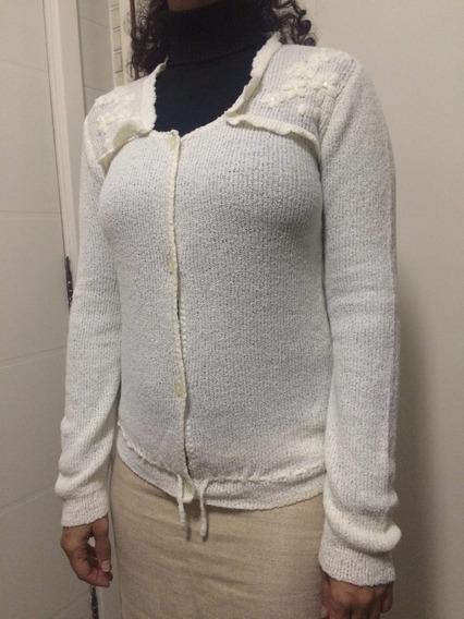 Casaco Malha Blusa Lã Branco Retira Metrô Sp