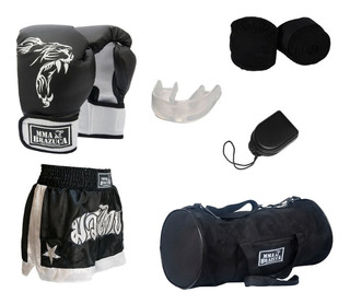 Kit Muaythai/boxe: Luva + Bolsa + Band. + Buc. + Short Preto