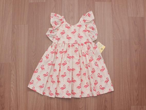 Vestido Manguinha Cruzada Flamingos