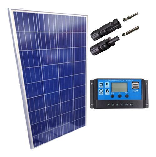 Imagem 1 de 1 de Kit Placa Solar 280w Controlador 10a Lcd