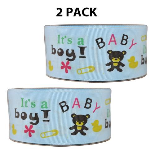 Imagen 1 de 3 de Listón Popotillo Estampado Baby Shower,2 Piezas,014-1 1/2b