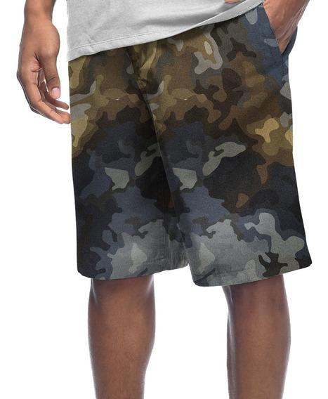 Bermuda Shorts Estampado Poliéster Camo Camuflado Militar #1