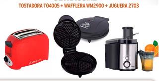 Combo Desayuno Ultracomb Tostadora + Waflera + Jueguera