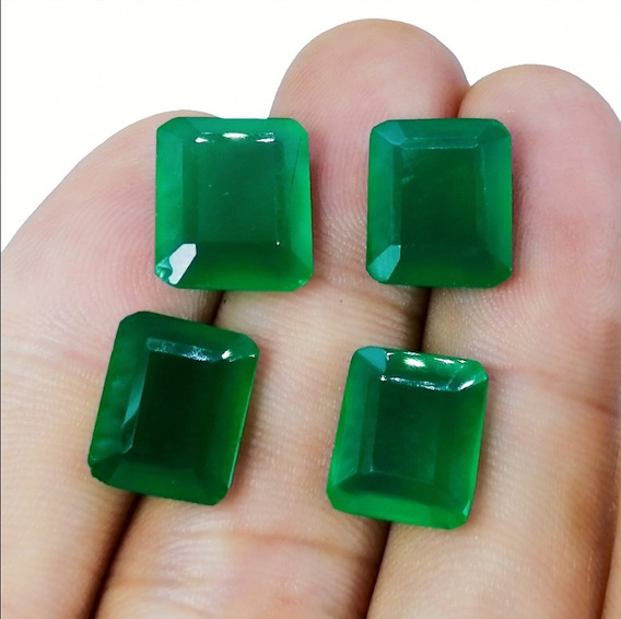 4 Piezas 27.20ct Lote Natural Piedra Onix Verde Esmeralda