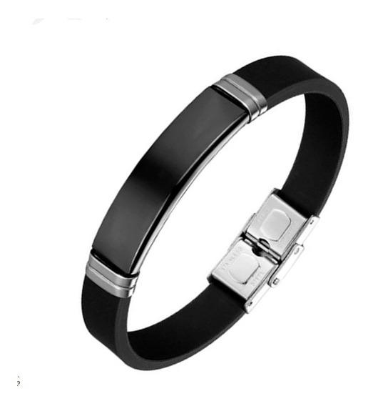 Pulseira Bracelete Masculino Silicone Placa Preta Aço Inox