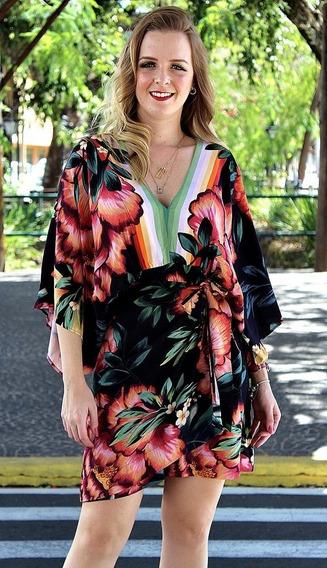 Farm Vestido Transpasse Flor Iris