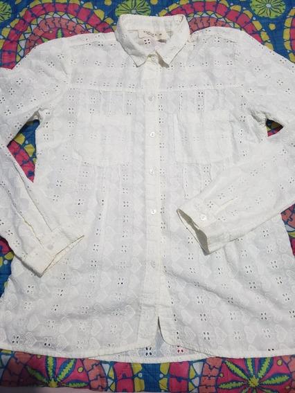 Camisa De Brodery Corazones.. Wanama Talle 44