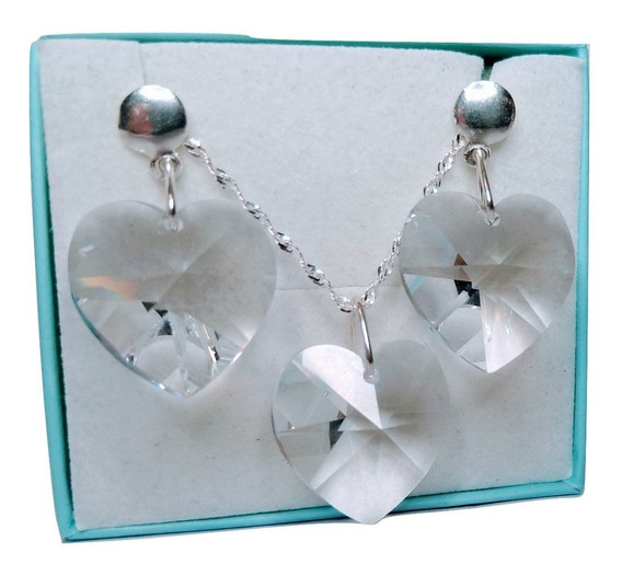 Conjunto Coração Cristal Swarovski 1,8 Cm Em Prata 925