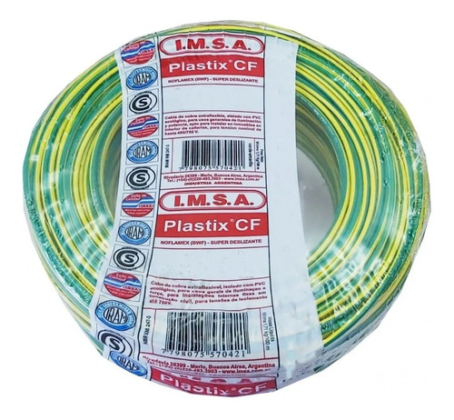 Imagen 1 de 3 de Cable Unipolar 2,5 Rollo 100 Metros Verde/a Imsa Plastix Cf