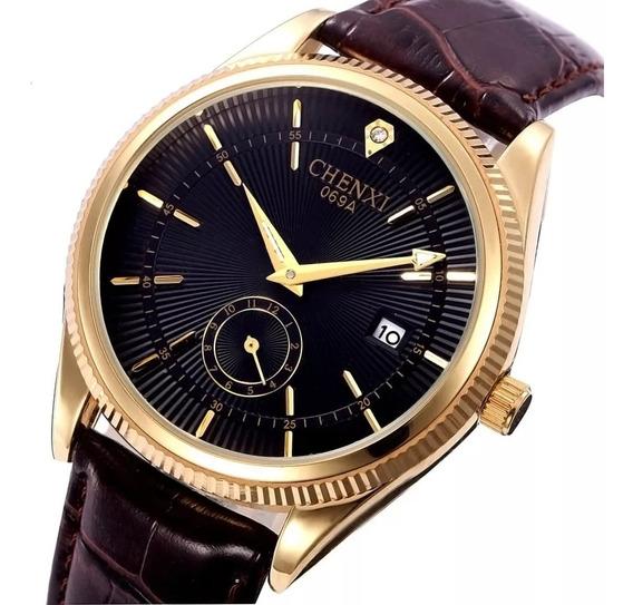 Relógio Masculino Dourado Pulseira Em Couro