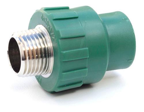 Imagen 1 de 2 de Cupla Termofusión Verde 20mm Inserto Macho 1/2  - Pack X 10