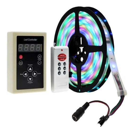 Fita De Led Digital 6803 Rgb Com Controle S/ Fio 133 Efeitos