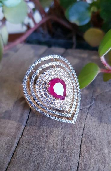 Anel Banho De Ouro-zirconias E Pedra Rubi-semi-jóia