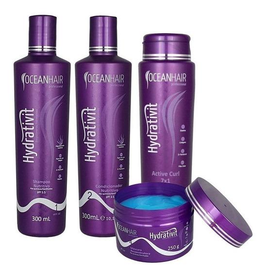 Kit Hidratação Reconstrução Capilar Brilho Intenso Modelador De Cachos 4 Produtos Profissional - Ocean Hair