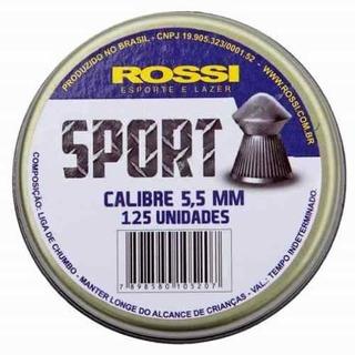 Munição Carabina Chumbinho Rossi Pressão 5,5 Cx C/125 Un