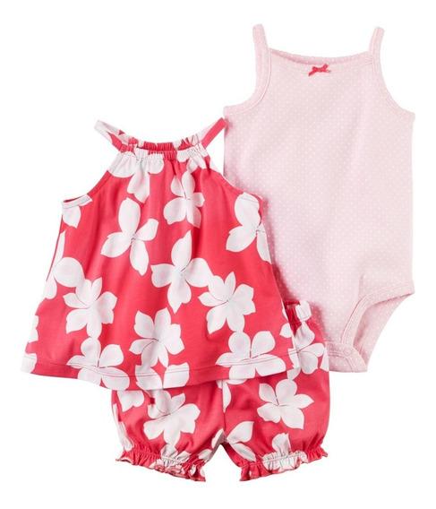 Roupa De Bebe Cj Carters 3pç Body Bata De Alça Shorts Floral
