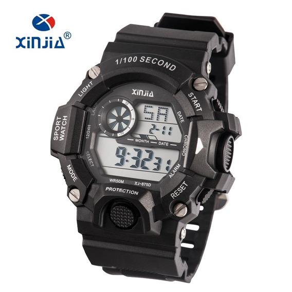 Relógio Esportivo Masculino Preto Xj-875d Frete Grátis