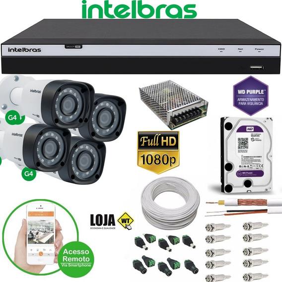Kit 4 Câmeras 1080p Intelbras Dvr 4 Canais Intelbras 4ª Ger