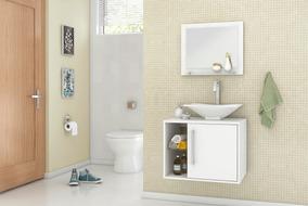 Gabinete Armário Para Banheiro Com Pia Baden Branco_branco