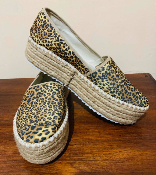 Zapatos Print Plataforma Simil Yute
