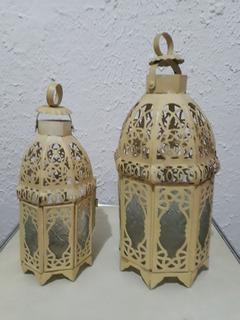 Par Lanternas Marroquinas Antigas Vidro Decorado