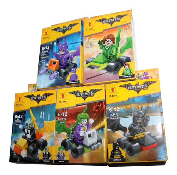 Kit 5 Bonecos E Carrinho Batman Coringa Marvel Heróis