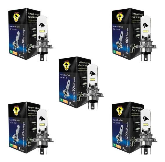 05 Lampadas Super Led H4 8000k Yamaha Ybr 125 150 Factor