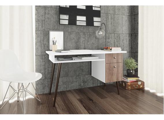 Mesa Escrivaninha 2 Gavetas Branco/rústico Rt 3067 Movelbent
