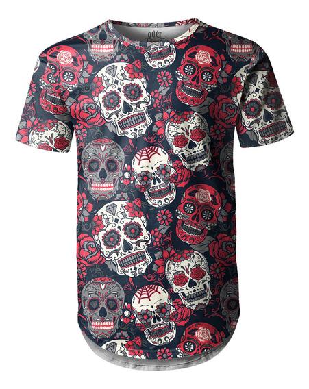 Camiseta Masculina Longline Swag Caveiras Mexicanas