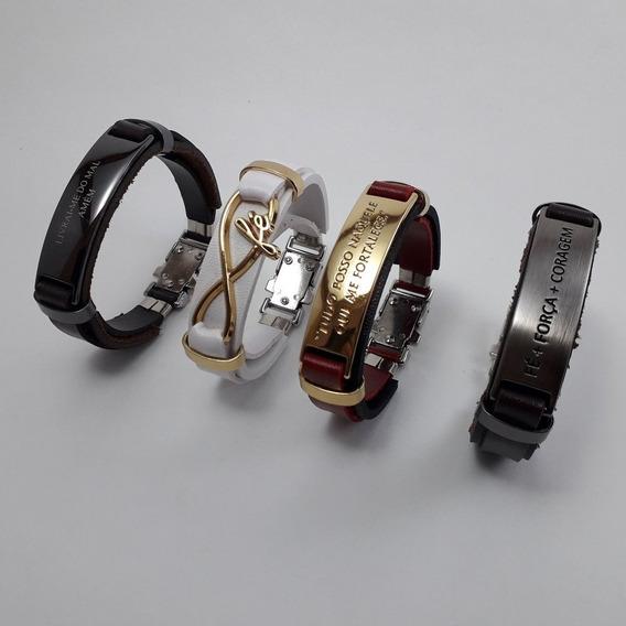Pulseira Masculina E Feminina De Couro Ajustável Bracelete